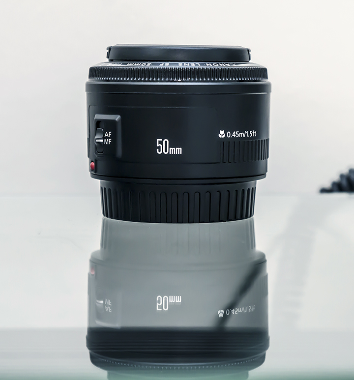 Canon 50mm f1.8 MKII EF lens (EF a full frame) on a crop sensor body...